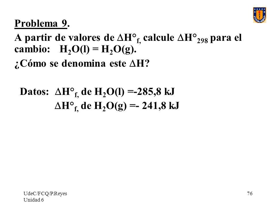 ¿Cómo se denomina este DH Datos: DH°f, de H2O(l) =-285,8 kJ