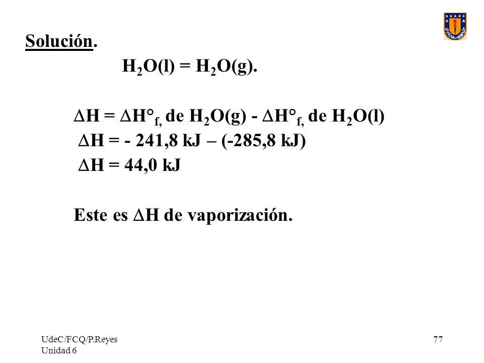 DH = DH°f, de H2O(g) - DH°f, de H2O(l) DH = - 241,8 kJ – (-285,8 kJ)