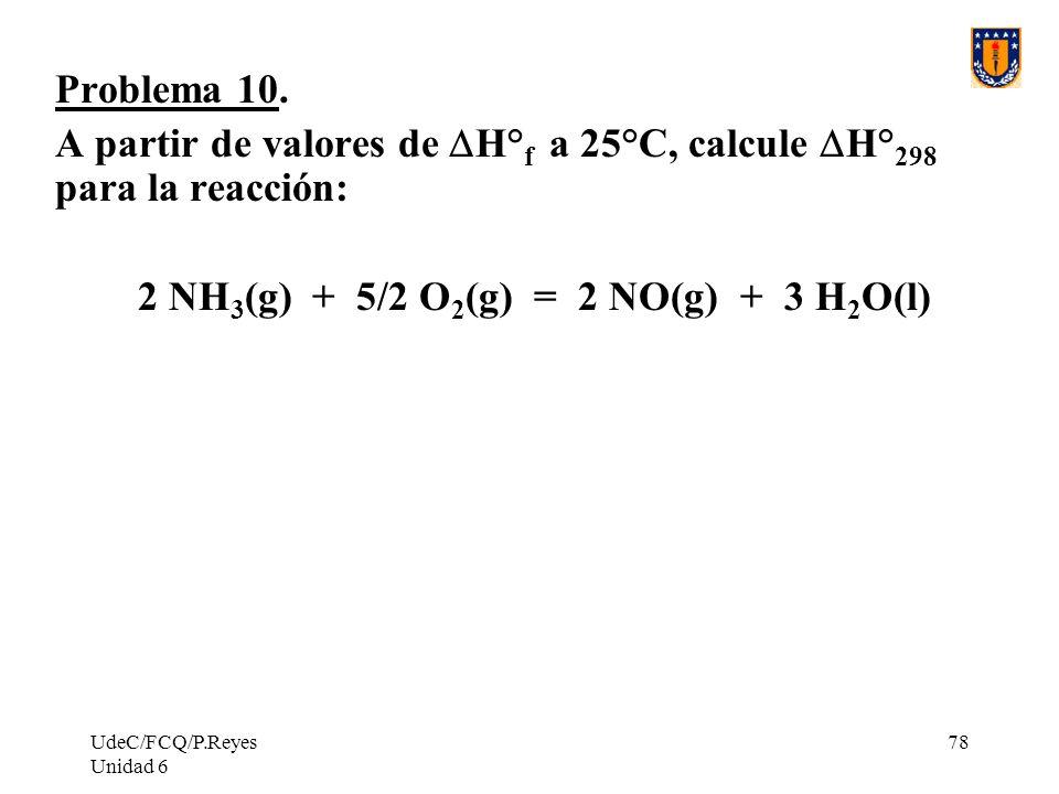 A partir de valores de DH°f a 25°C, calcule DH°298 para la reacción: