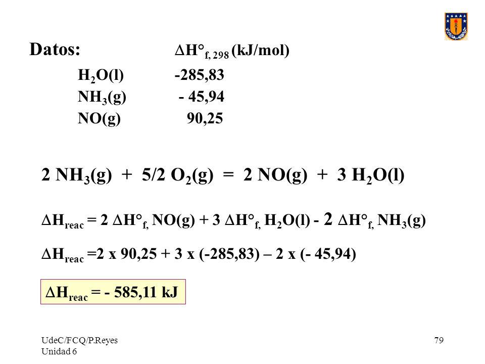 2 NH3(g) + 5/2 O2(g) = 2 NO(g) + 3 H2O(l)