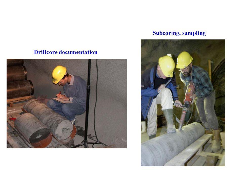 Subcoring, sampling Drillcore documentation