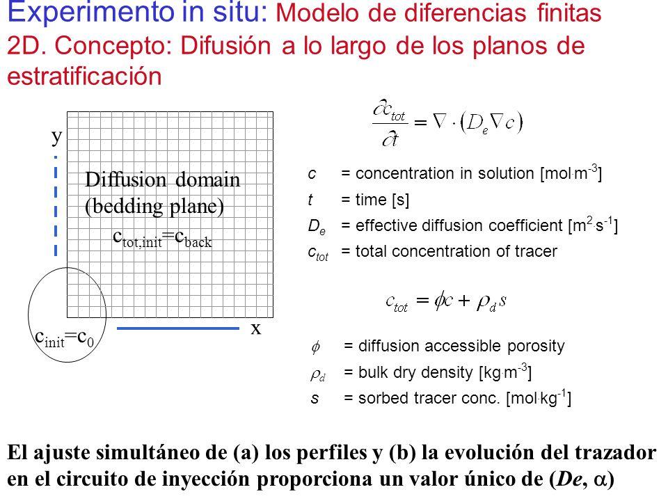 Experimento in situ: Modelo de diferencias finitas 2D