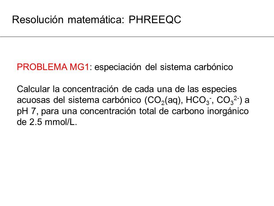 Resolución matemática: PHREEQC