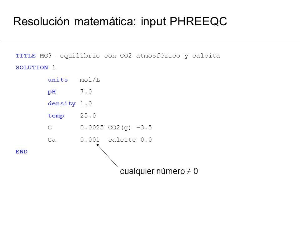 Resolución matemática: input PHREEQC