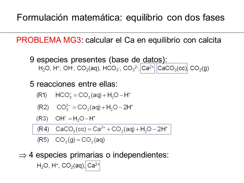 Formulación matemática: equilibrio con dos fases