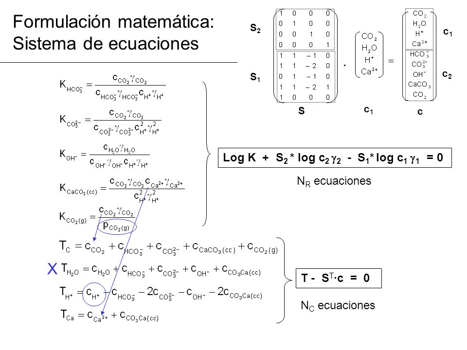 Formulación matemática: Sistema de ecuaciones