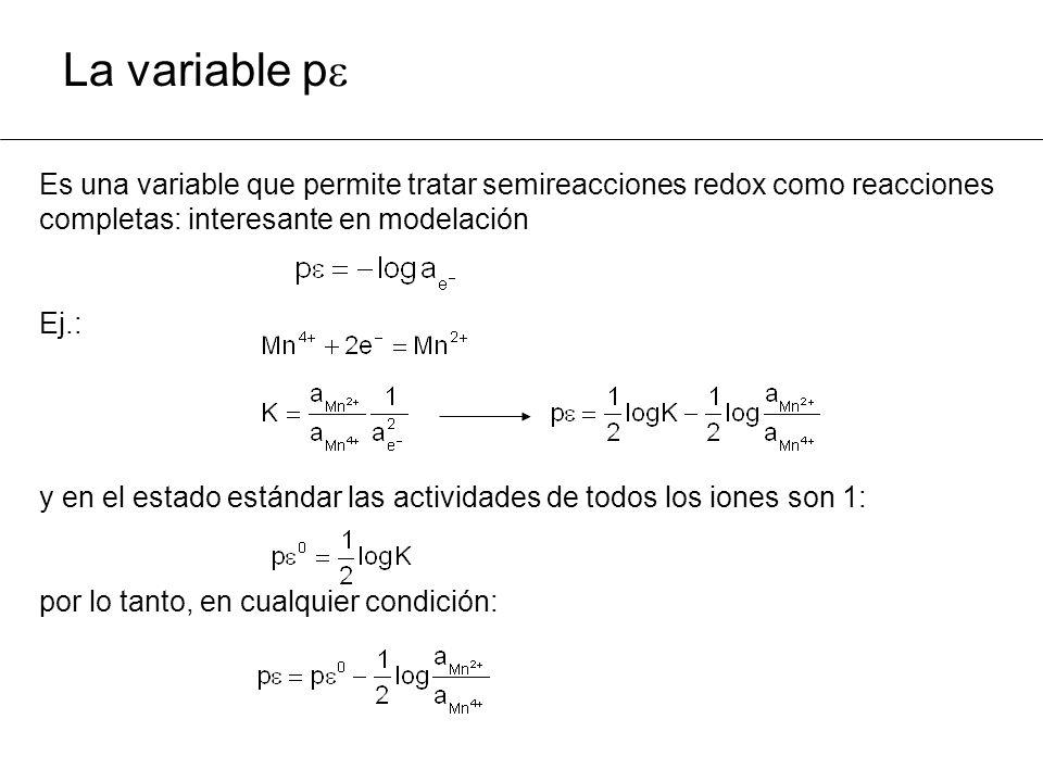 La variable p Es una variable que permite tratar semireacciones redox como reacciones. completas: interesante en modelación.