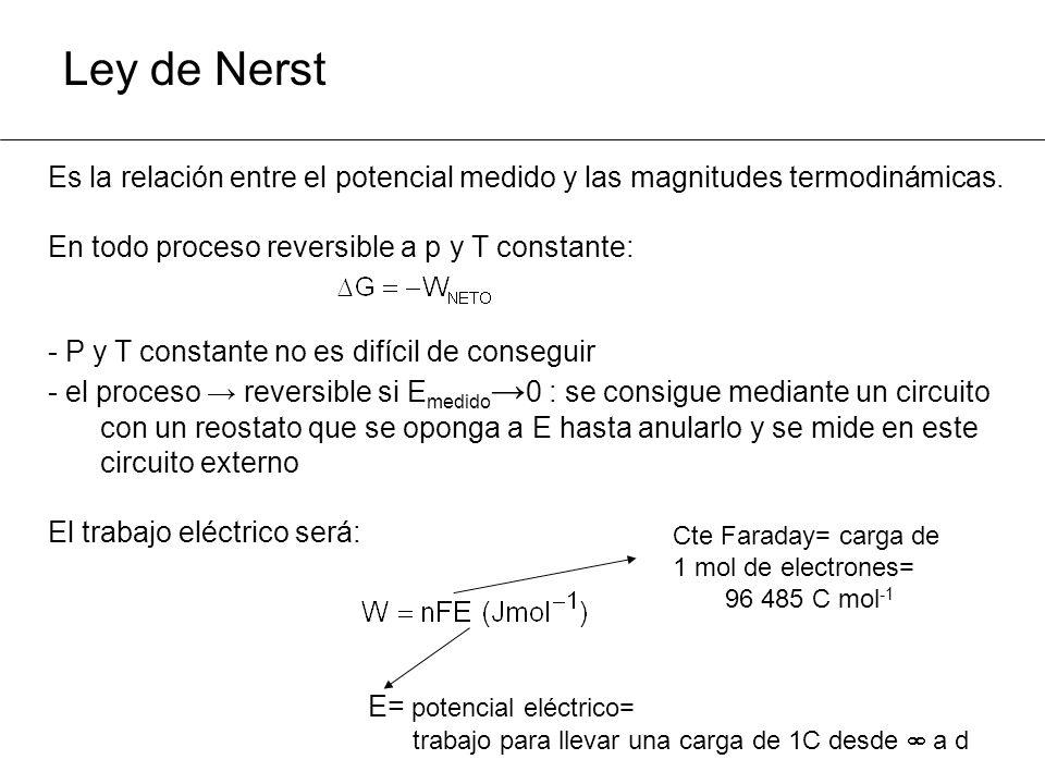 Ley de Nerst Es la relación entre el potencial medido y las magnitudes termodinámicas. En todo proceso reversible a p y T constante: