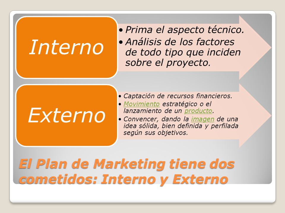 El Plan de Marketing tiene dos cometidos: Interno y Externo