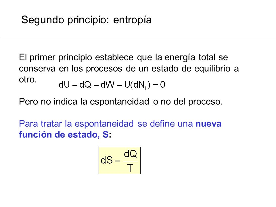Segundo principio: entropía