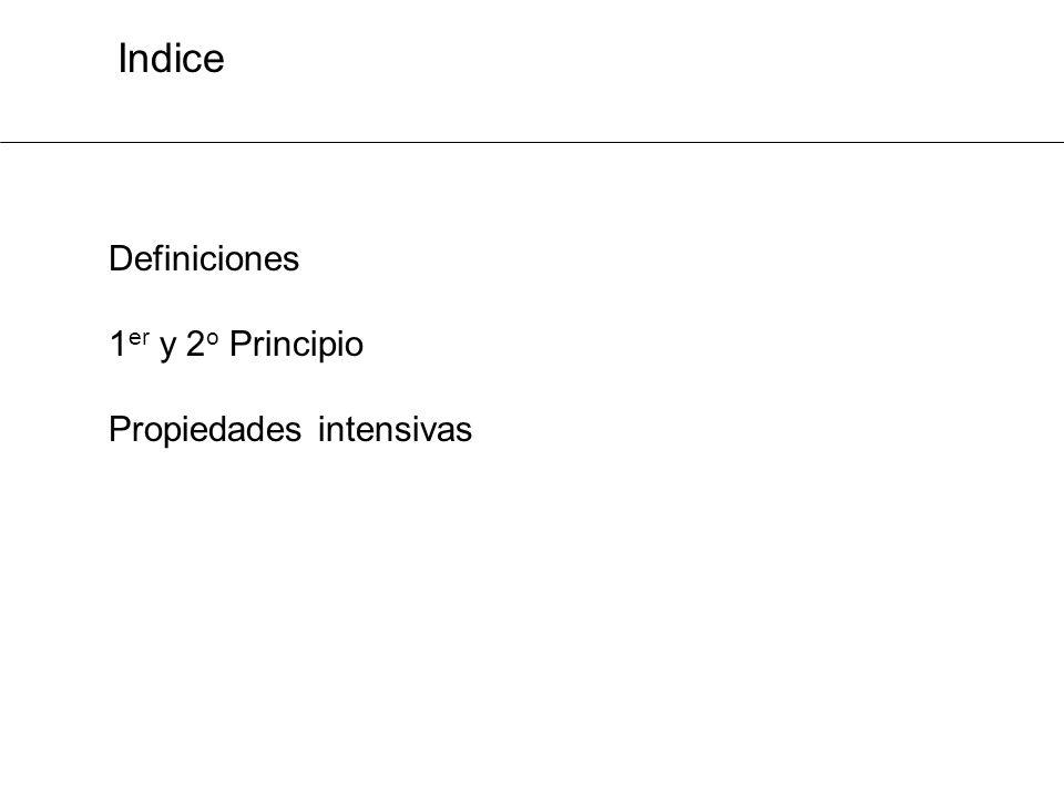 Indice Definiciones 1er y 2o Principio Propiedades intensivas