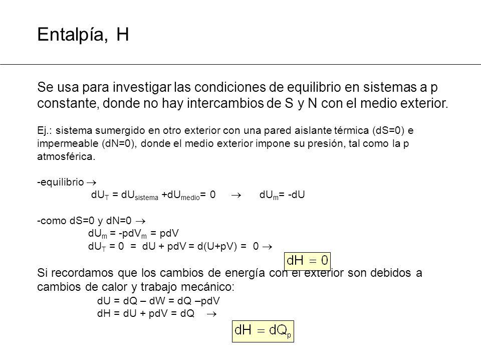 Entalpía, H Se usa para investigar las condiciones de equilibrio en sistemas a p constante, donde no hay intercambios de S y N con el medio exterior.