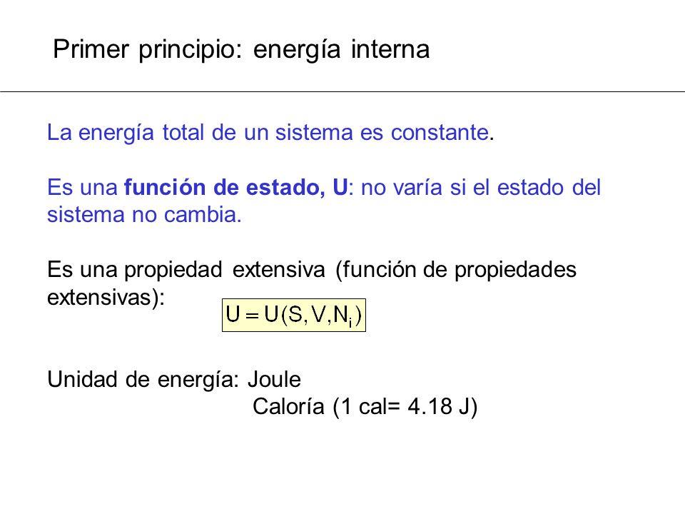 Primer principio: energía interna
