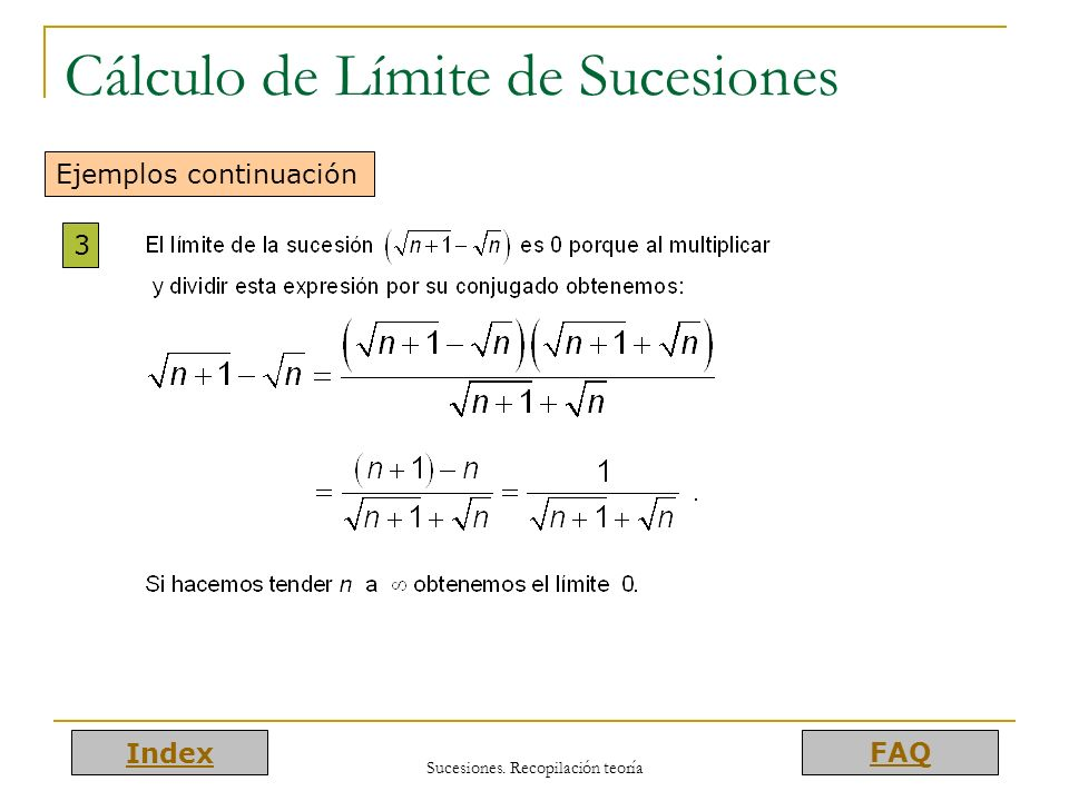 Cálculo de Límite de Sucesiones