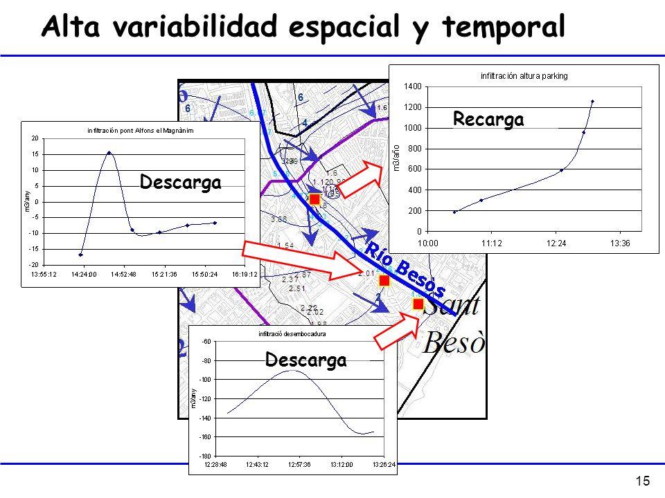 Alta variabilidad espacial y temporal