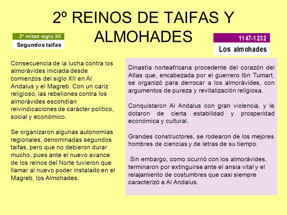 2º REINOS DE TAIFAS Y ALMOHADES