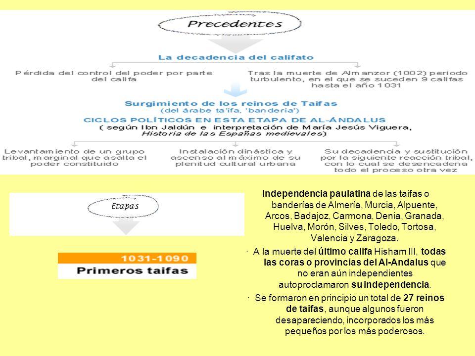 Independencia paulatina de las taifas o banderías de Almería, Murcia, Alpuente, Arcos, Badajoz, Carmona, Denia, Granada, Huelva, Morón, Silves, Toledo, Tortosa, Valencia y Zaragoza.