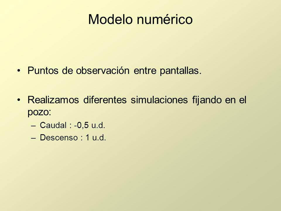 Modelo numérico Puntos de observación entre pantallas.