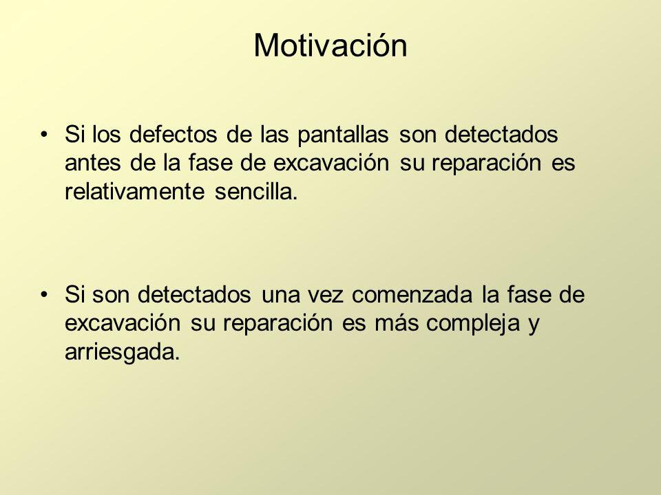 Motivación Si los defectos de las pantallas son detectados antes de la fase de excavación su reparación es relativamente sencilla.