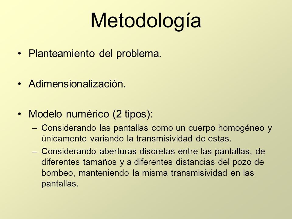 Metodología Planteamiento del problema. Adimensionalización.