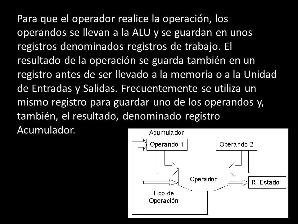 Para que el operador realice la operación, los operandos se llevan a la ALU y se guardan en unos registros denominados registros de trabajo.