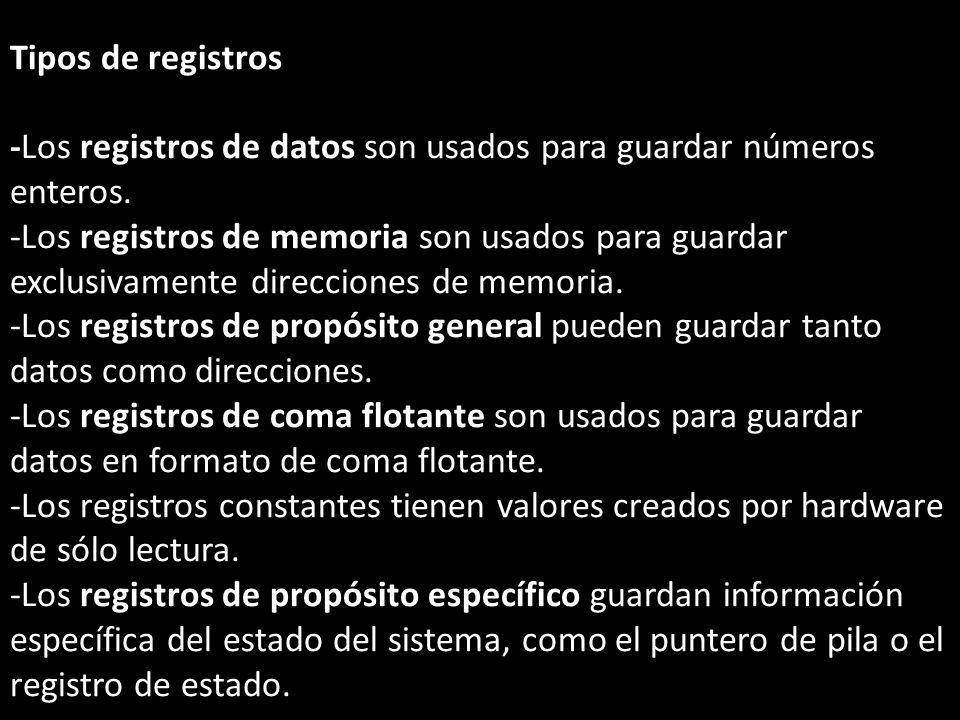 Tipos de registros -Los registros de datos son usados para guardar números enteros.