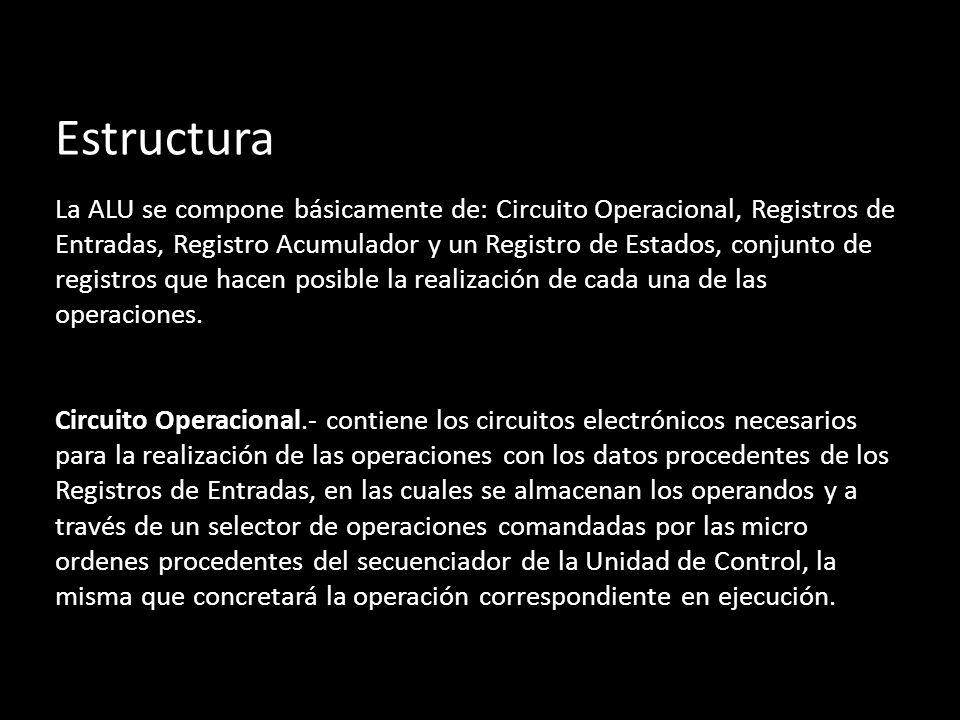 Estructura La ALU se compone básicamente de: Circuito Operacional, Registros de Entradas, Registro Acumulador y un Registro de Estados, conjunto de registros que hacen posible la realización de cada una de las operaciones.