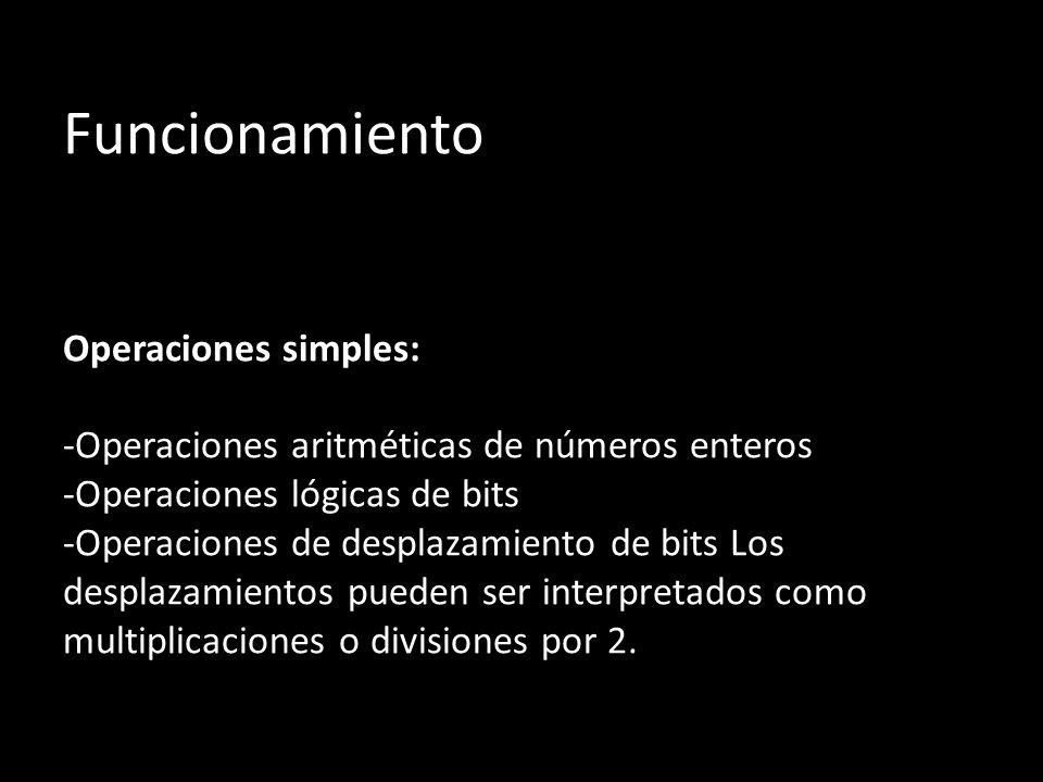 Funcionamiento Operaciones simples: -Operaciones aritméticas de números enteros -Operaciones lógicas de bits -Operaciones de desplazamiento de bits Los desplazamientos pueden ser interpretados como multiplicaciones o divisiones por 2.