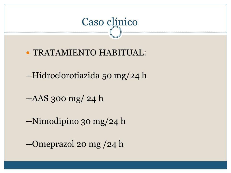 Caso clínico TRATAMIENTO HABITUAL: --Hidroclorotiazida 50 mg/24 h