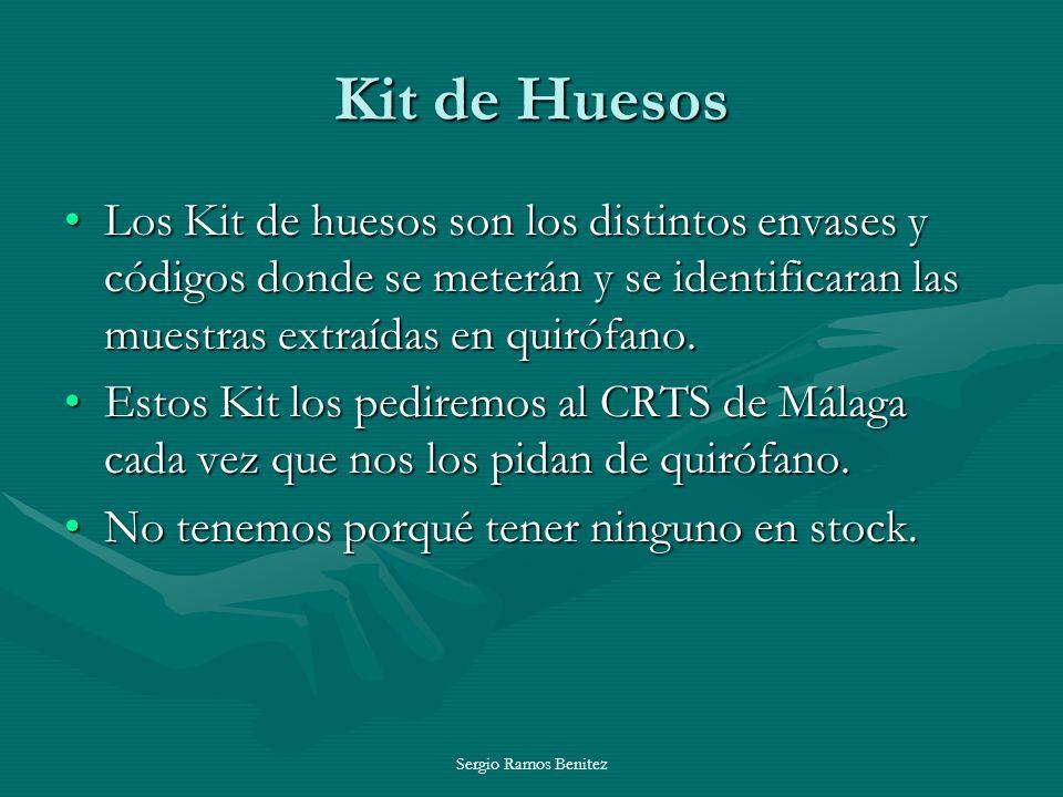 Kit de Huesos Los Kit de huesos son los distintos envases y códigos donde se meterán y se identificaran las muestras extraídas en quirófano.