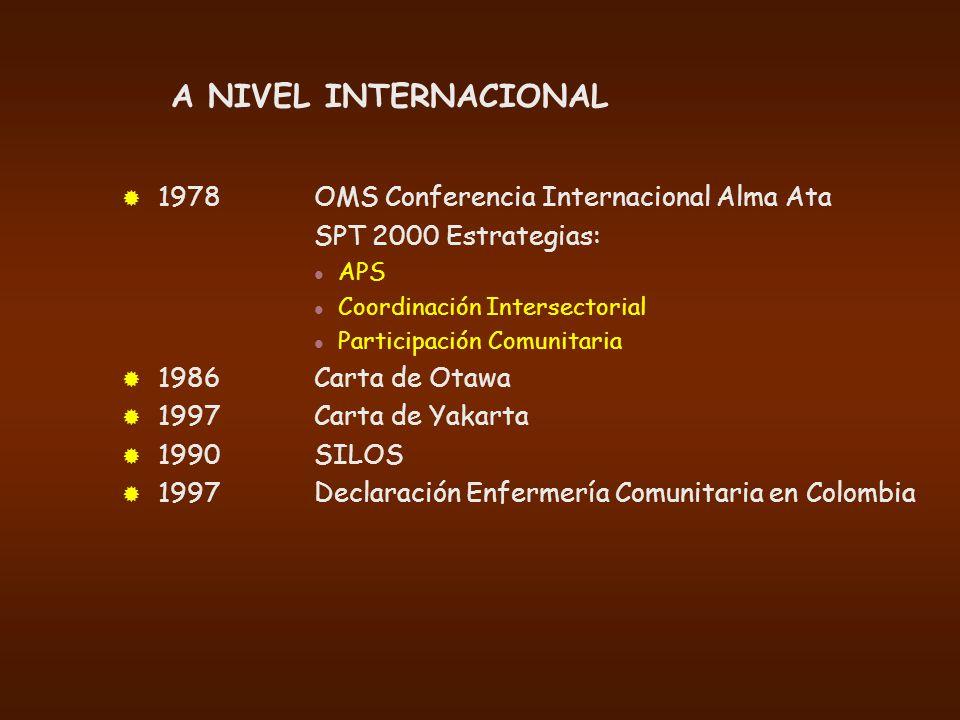 A NIVEL INTERNACIONAL 1978 OMS Conferencia Internacional Alma Ata