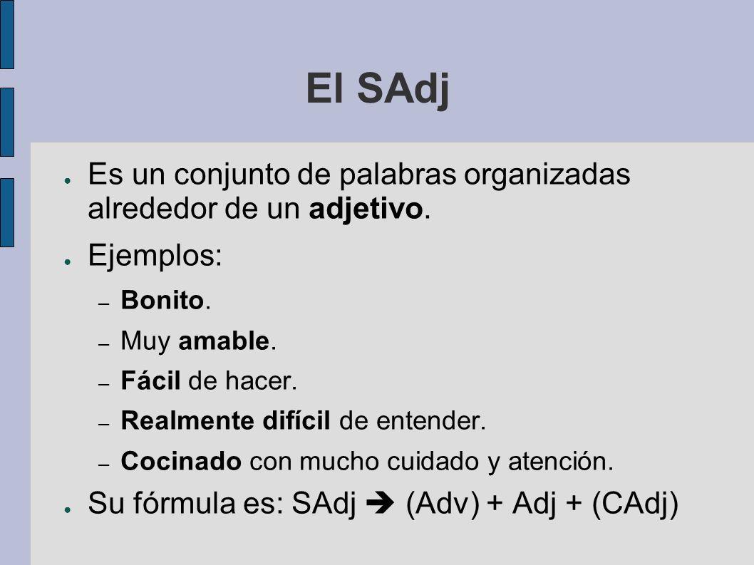 El SAdj Es un conjunto de palabras organizadas alrededor de un adjetivo. Ejemplos: Bonito. Muy amable.