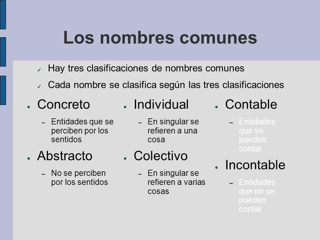 Los nombres comunes Concreto Abstracto Individual Colectivo Contable