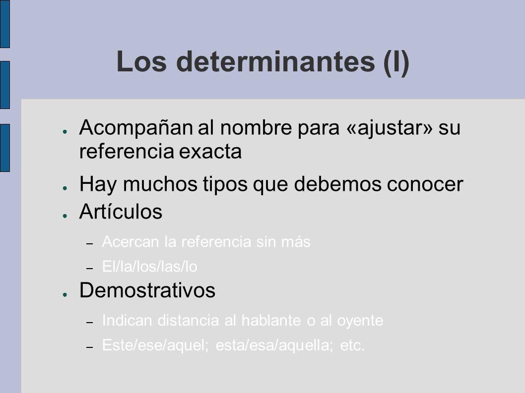 Los determinantes (I) Acompañan al nombre para «ajustar» su referencia exacta. Hay muchos tipos que debemos conocer.