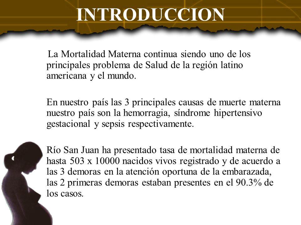 INTRODUCCION La Mortalidad Materna continua siendo uno de los principales problema de Salud de la región latino americana y el mundo.
