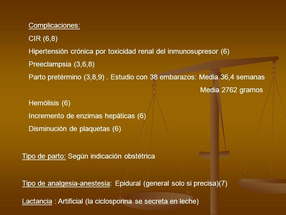 Complicaciones: CIR (6,8) Hipertensión crónica por toxicidad renal del inmunosupresor (6) Preeclampsia (3,6,8)