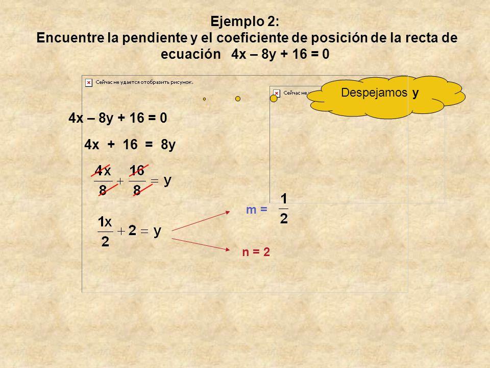 Ejemplo 2: Encuentre la pendiente y el coeficiente de posición de la recta de ecuación 4x – 8y + 16 = 0