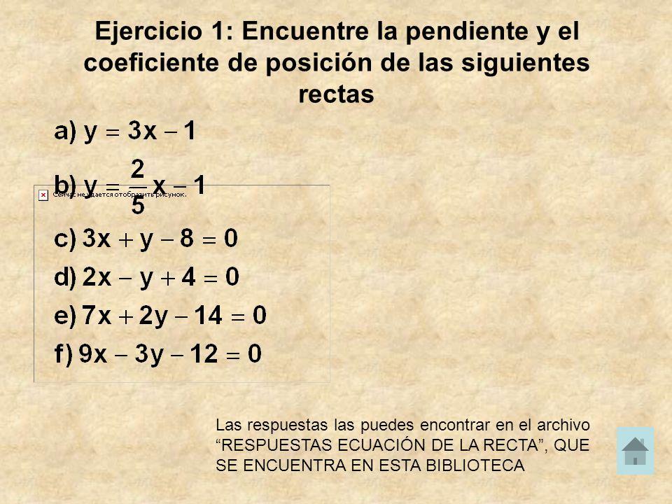 Ejercicio 1: Encuentre la pendiente y el coeficiente de posición de las siguientes rectas