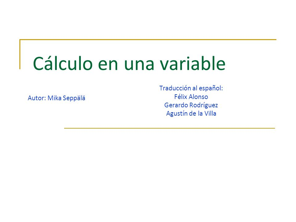 Cálculo en una variable