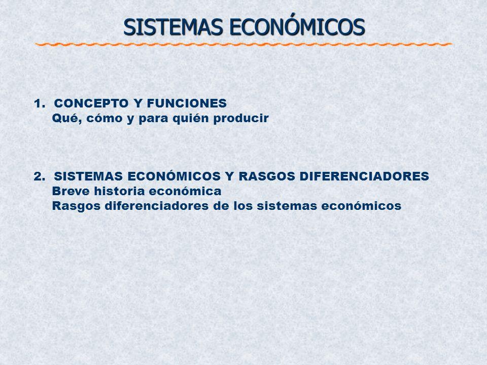 SISTEMAS ECONÓMICOS 1. CONCEPTO Y FUNCIONES