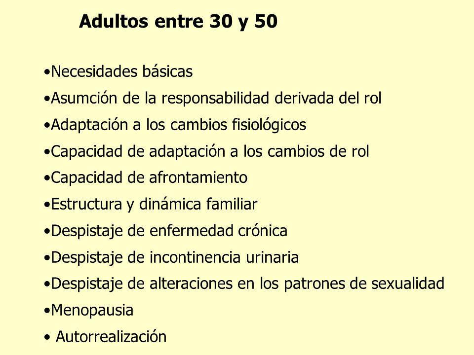 Adultos entre 30 y 50 Necesidades básicas