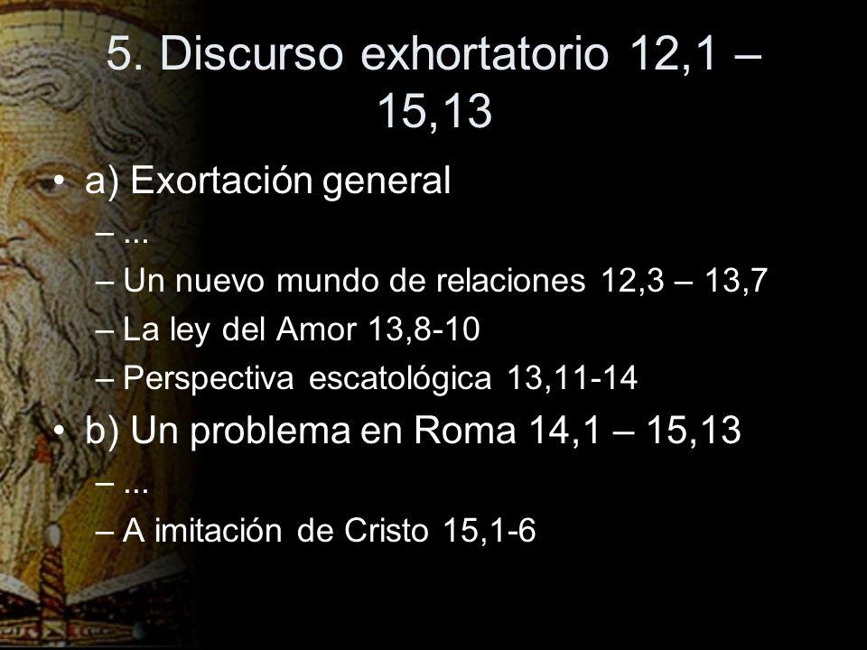 5. Discurso exhortatorio 12,1 – 15,13