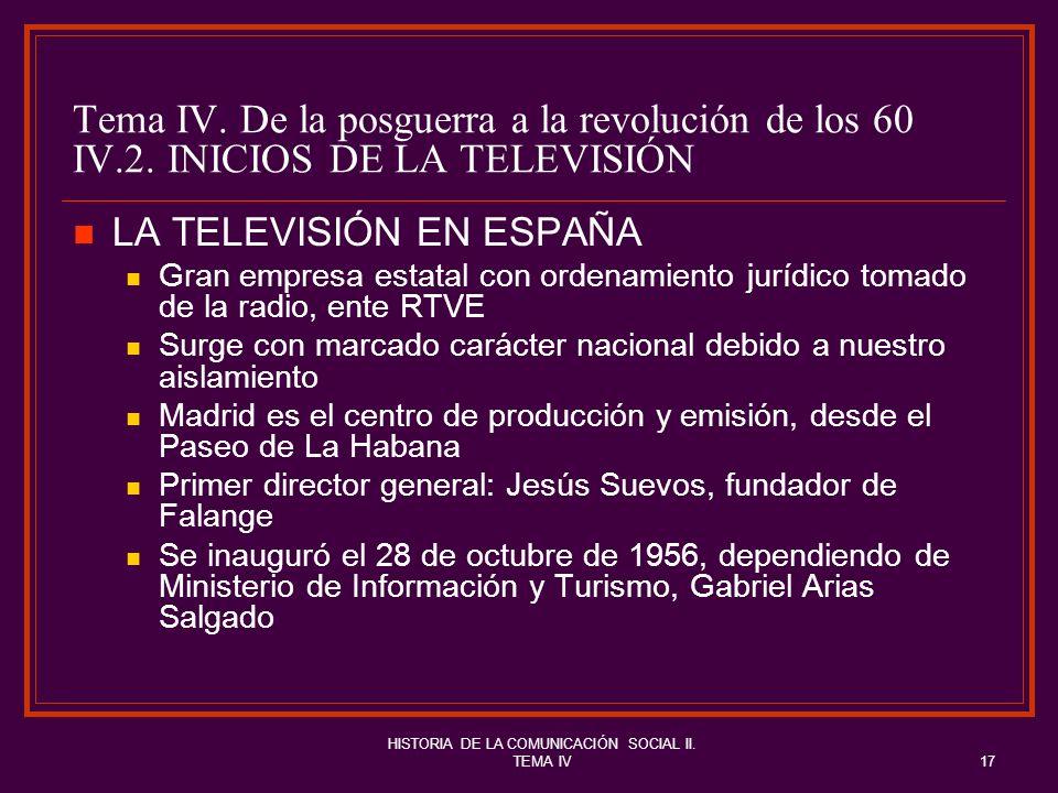 HISTORIA DE LA COMUNICACIÓN SOCIAL II. TEMA IV