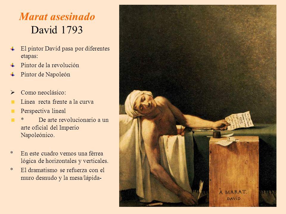Marat asesinado David 1793 El pintor David pasa por diferentes etapas: