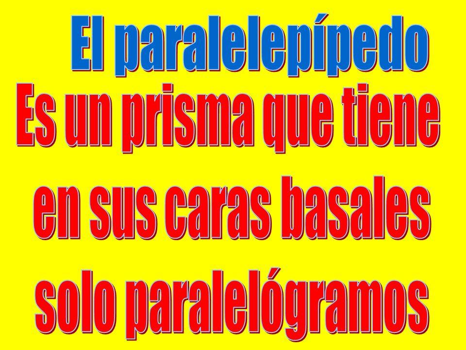 El paralelepípedo Es un prisma que tiene en sus caras basales solo paralelógramos