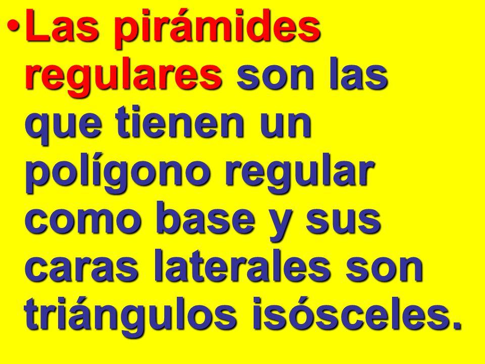 Las pirámides regulares son las que tienen un polígono regular como base y sus caras laterales son triángulos isósceles.