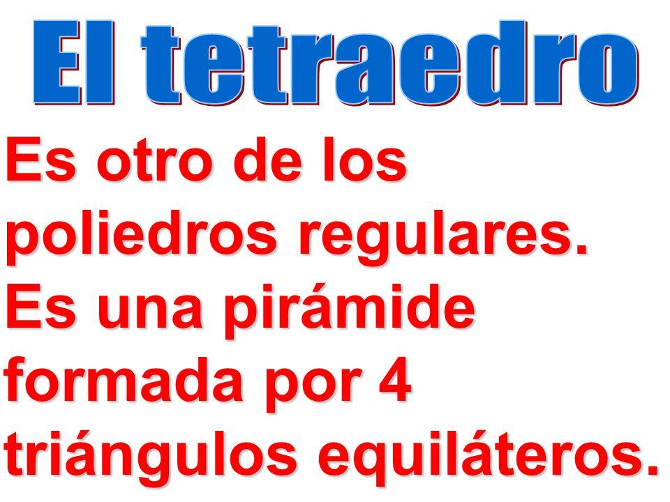 El tetraedro Es otro de los poliedros regulares.
