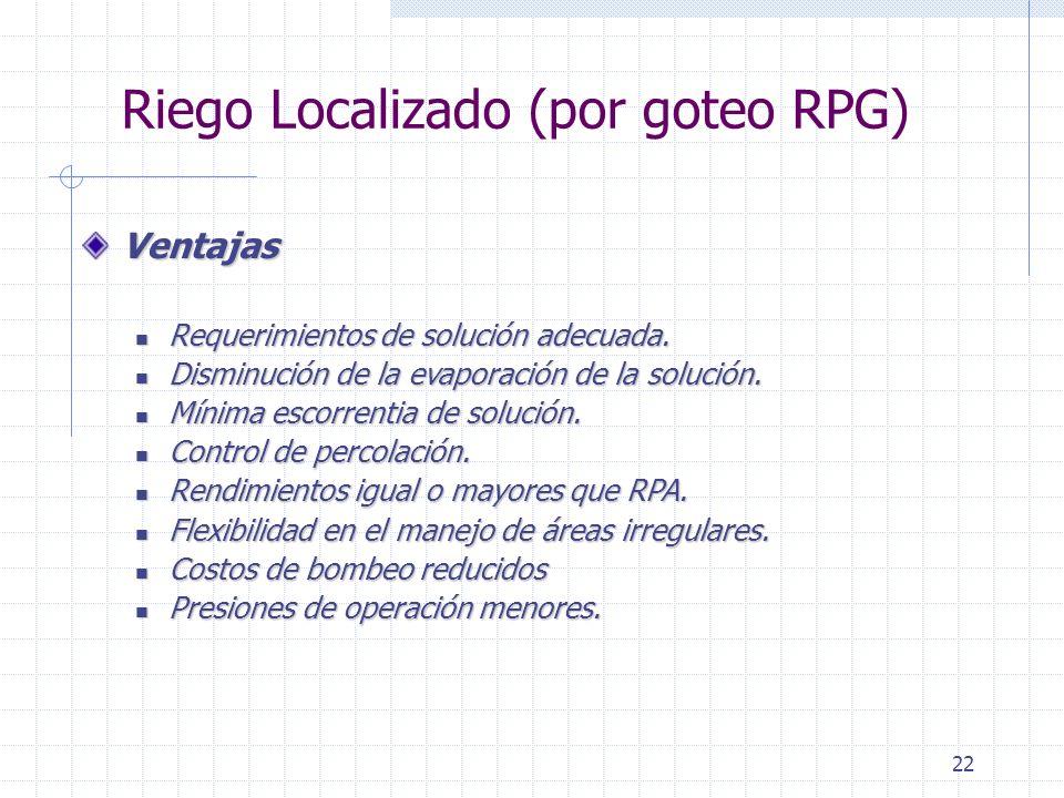 Riego Localizado (por goteo RPG)
