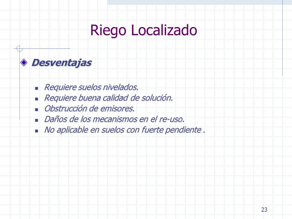Riego Localizado Desventajas Requiere suelos nivelados.