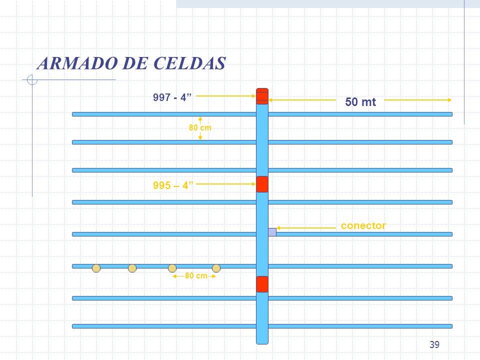 ARMADO DE CELDAS 997 - 4 50 mt 80 cm 995 – 4 conector 80 cm